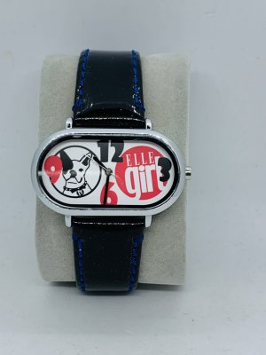 Elle Horloge met lederen riempje veelkleurig