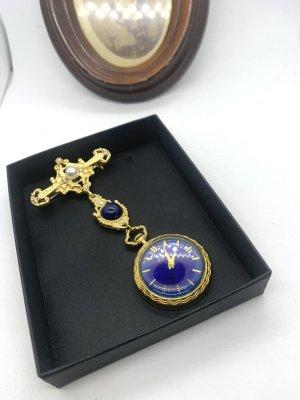 Vintage Analoog horloge goud-blauw