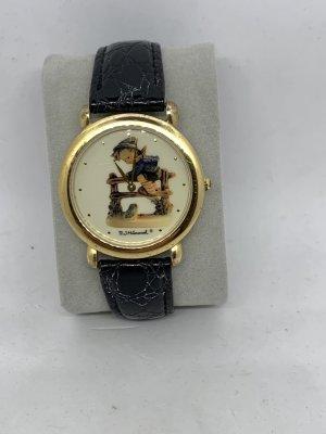 Hummel Montre avec bracelet en cuir doré-noir