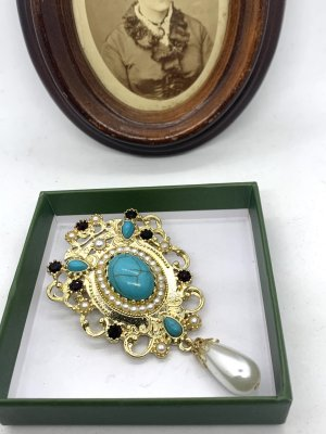 Vintage Broche goud-turkoois