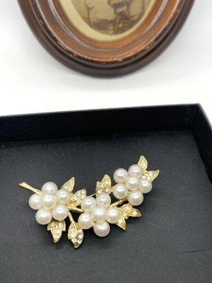 Vintage Broche goud-wit