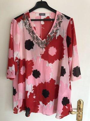 Samoon Damen Bluse Tunika Hemd lang Blumen pink rosa rot Glitzer Bunt 44 XXL Neu