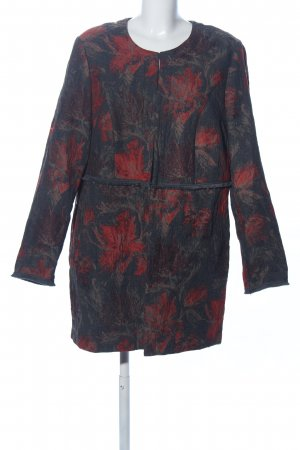 Samoon Gehrock schwarz-rot Blumenmuster Casual-Look