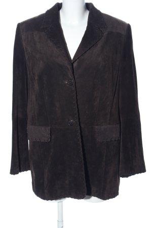 Samoon Leren blazer bruin casual uitstraling
