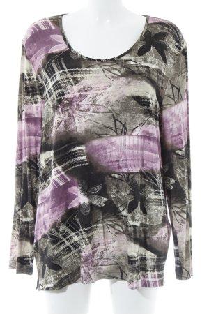 Samoon Longsleeve schwarzbraun-rosa abstraktes Muster Casual-Look