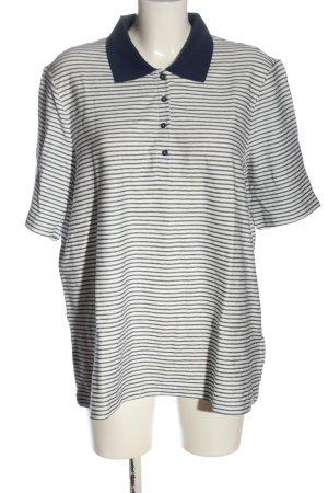 Samoon Camiseta tipo polo blanco-azul estampado a rayas look casual