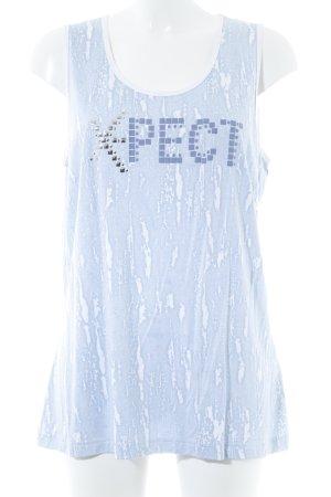 Samoon Stricktop hellblau-weiß abstraktes Muster Casual-Look