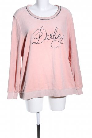 Samoon Sweatshirt pink-schwarz Schriftzug gedruckt Casual-Look