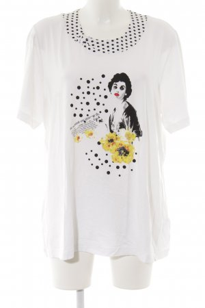Samoon T-Shirt weiß-schwarz Punktemuster Casual-Look