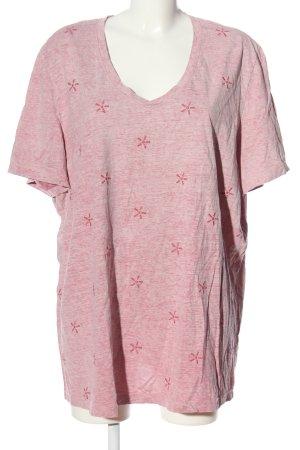 Samoon V-Ausschnitt-Shirt rot meliert Casual-Look