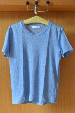 SAMSOE SAMSOE Basic T-Shirt 36/S Leinen Leinenshirt Kurzarm Blau