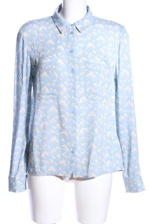 Samsøe & samsøe Hemd-Bluse blau-blassgelb abstraktes Muster Business-Look