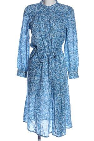 Samsøe & samsøe Hemdblusenkleid blau-weiß Allover-Druck Elegant