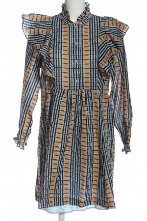 Samsøe & samsøe Abito blusa camicia blu-arancione chiaro motivo a quadri