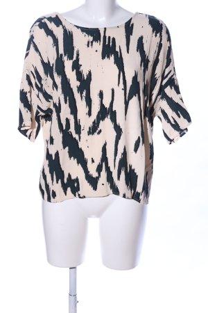 Samsøe & samsøe Kurzarm-Bluse creme-schwarz abstraktes Muster Casual-Look