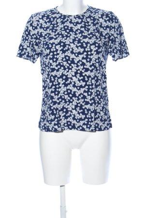 Samsøe & samsøe Kurzarm-Bluse weiß-blau Allover-Druck Casual-Look