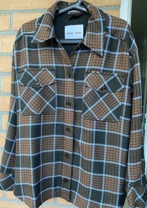 Samsøe & samsøe Veste chemise gris brun-bleu viscose