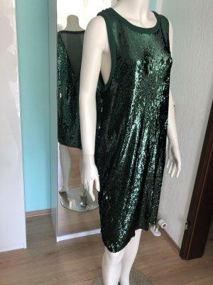 Samsoe Samsoe Pailletten Kleid Grün tiefer Mesh Rücken M 38