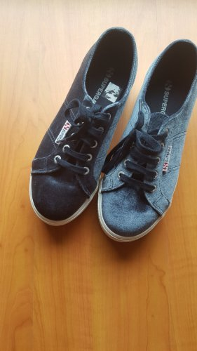 samt blaue SUPERGA Plateau Sneaker / 38