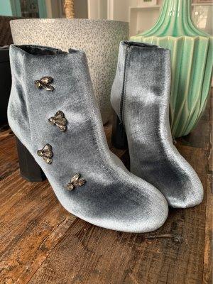 Samt Graublau Boots