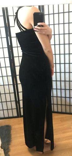 Samt Kleid lang Maxikleid Abendkleid schwarz Größe S
