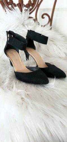 Samt Leder High Heels Pumps Riemchen Sandalen Schuhe 37,5