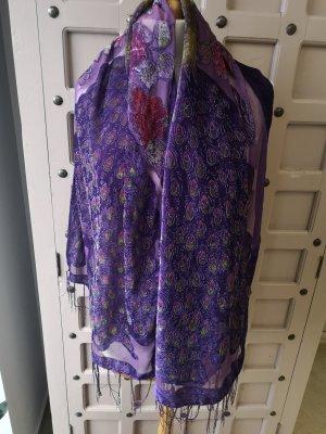 Bufanda de seda color oro-violeta oscuro