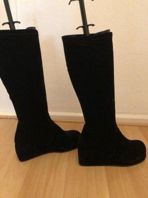 Platform Boots black velvet