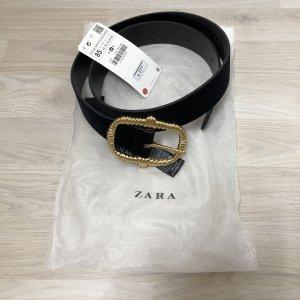Zara Accesoires Cinturón de cadera negro-color oro