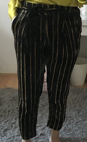 River Island Paperbag Trousers black-gold-colored