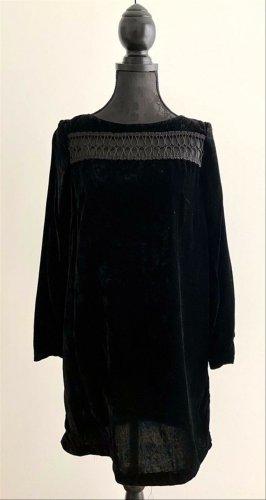H&M Vestido cut out negro tejido mezclado
