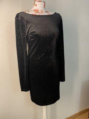 Samtkleid mit goldnen Glitzerpartikel, 1x getragen, Größe S/M, Farbe Schwarz/Gold