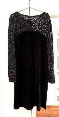 Samtkleid mit transparenten Ärmeln, schwarz, Gr. 38