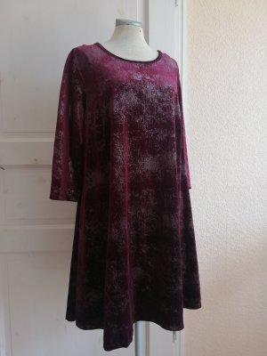 Samtkleid Samt Kleid bordeauxrot silber Glitzer Gr. UK 18 EUR 46