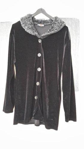 Samtoberteil - Größe 40 - Jacke mit Fellkragen und Knopfleiste