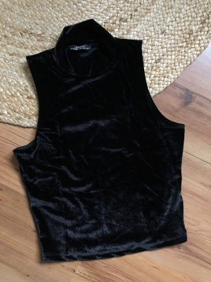 Bershka Silk Top black velvet