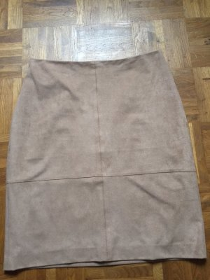s.Oliver Faux Leather Skirt sand brown mixture fibre