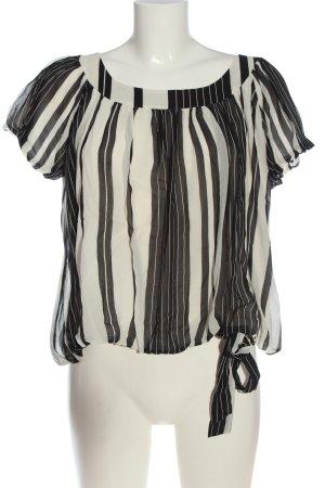 Sand Copenhagen Blusa in seta bianco-nero motivo a righe stile casual