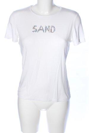 Sand T-Shirt weiß Schriftzug gedruckt Casual-Look