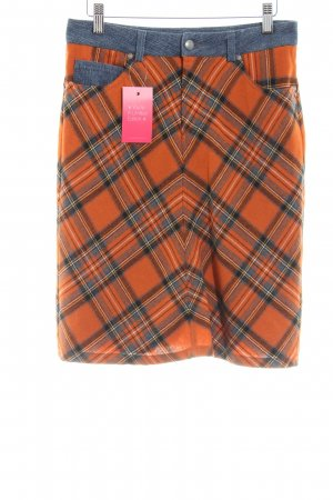 Sand Wool Skirt light orange-blue check pattern casual look