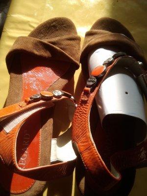 Regarde le Ciel Platform High-Heeled Sandal neon orange-light brown leather