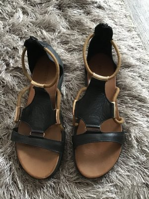 BRUCE BROWN Strapped Sandals black-light brown leather