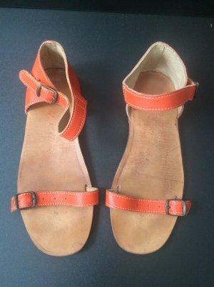 Sandales à lanière orange-marron clair cuir