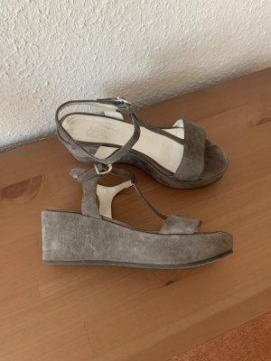 Alba Moda Platform Sandals grey leather