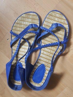 Sensation Sandały japonki z rzemykami niebieski