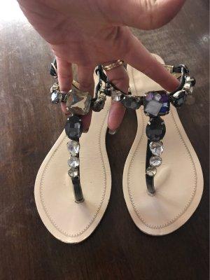 T-Strap Sandals black-silver-colored