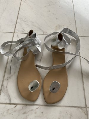 Hermès Toe-Post sandals silver-colored-nude
