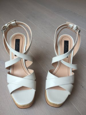 Sandalo con cinturino bianco sporco Pelle