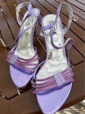 Sandales à talons hauts et plateforme violet-lilas