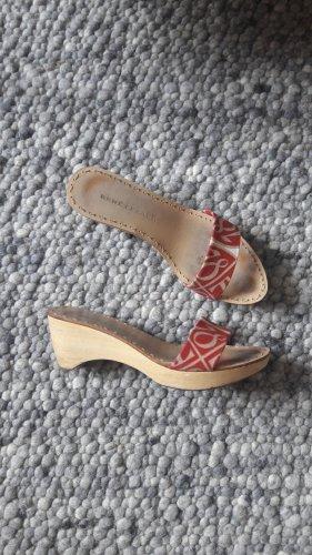 René Lezard Platform High-Heeled Sandal natural white-brick red